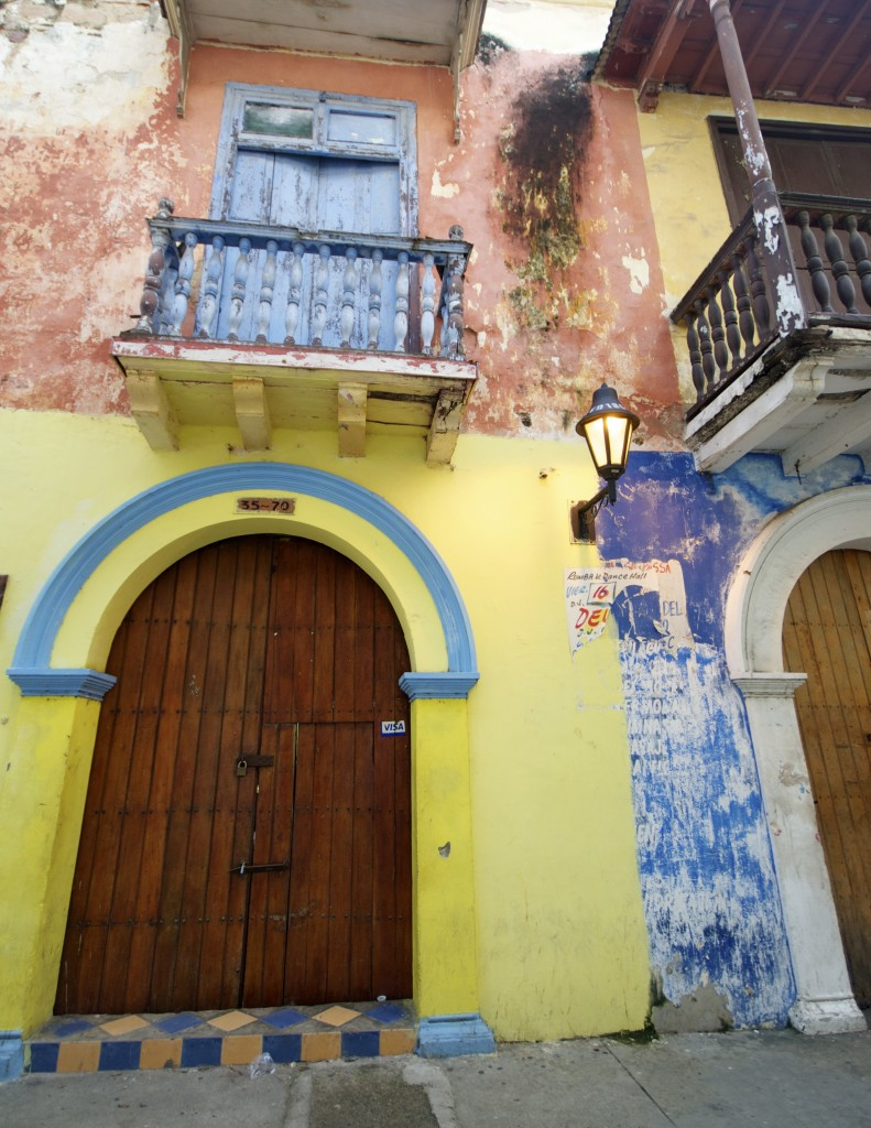 multicolored doors and walls in cartagena colombia