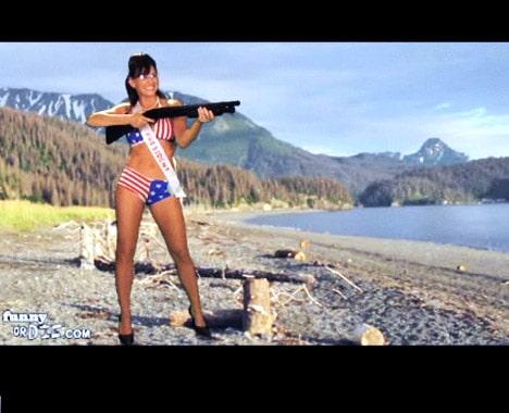 sarah palin bikini with gun in alaska