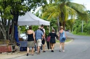 tourists going to the beach island tobago