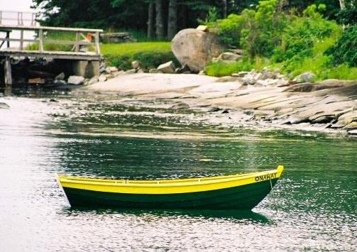green yellow boat Maine