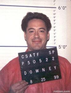 robert downey jr mug shot smiling jail