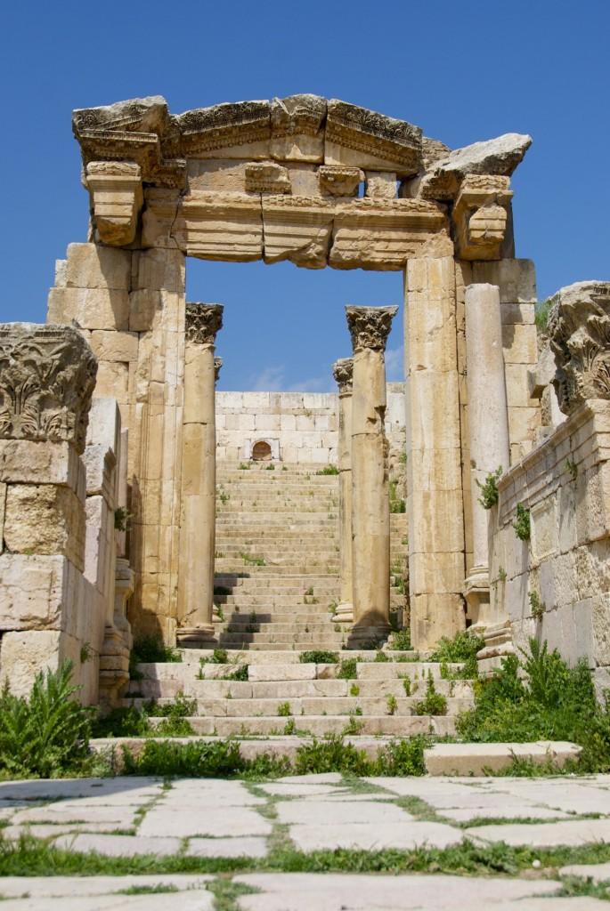 Jerash, Jordan, roman ruins temple door