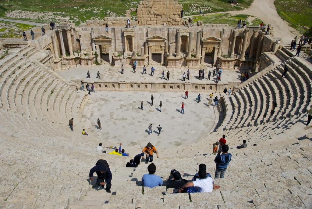 Jerash, jordan, roman ruins south amphitheater in Jerash