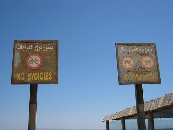 dahab egypt no camels sign