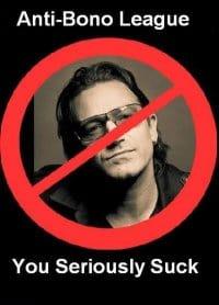 pretentious bono -- anti-bono group poster