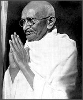 mahatma gandhi b&w hands in prayer