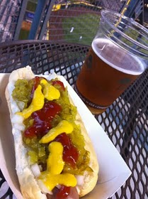 bratwurst and beer at baseball game