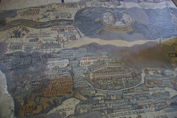 close up mosiac map madaba jordan