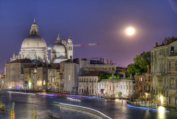 Venice Canal night photo with moon from Academia Bridge