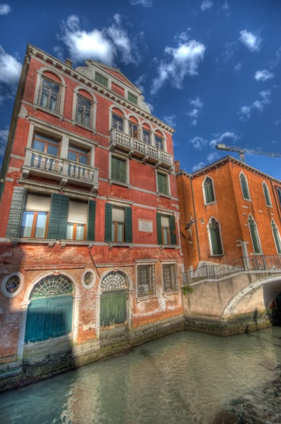 venice italy red and orange building on canal
