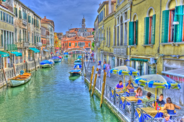 Venice canals and sidewalk cafes HDR painting style