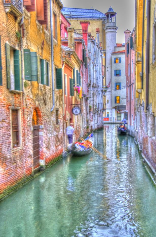 venice gondolier italy hdr photography