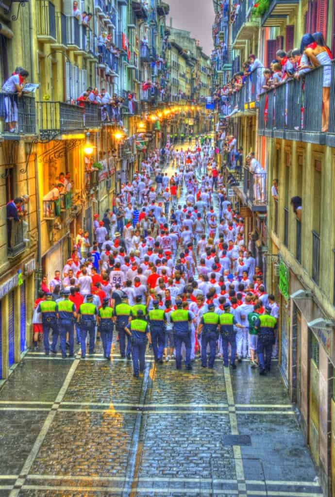 clearing the streets at pamplona spain