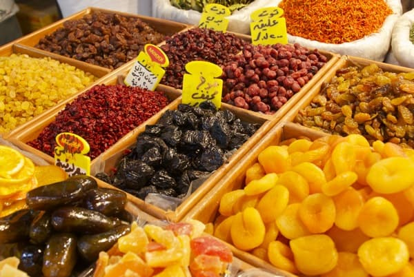dried fruits at damascus souk market in syria