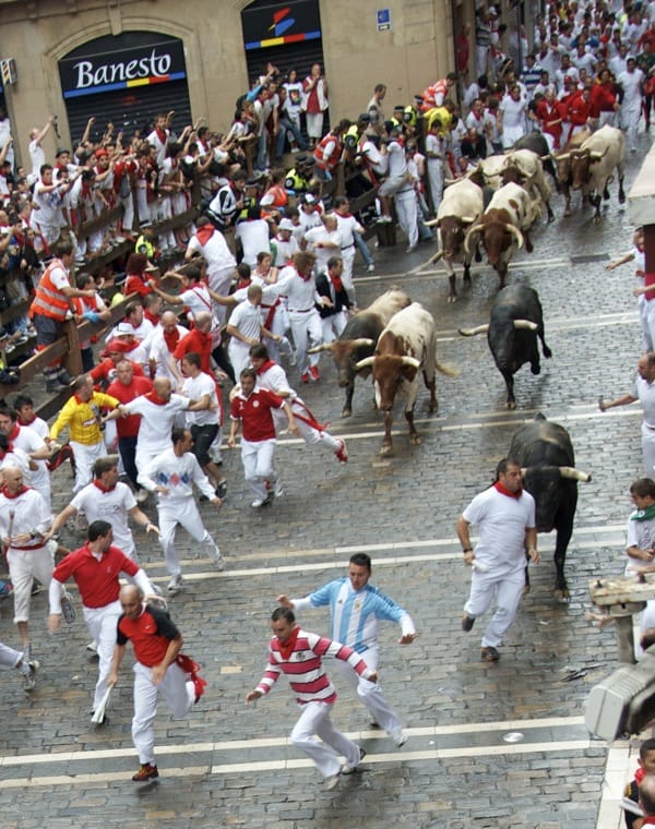 guy about to get gored, running with the bulls pamplona
