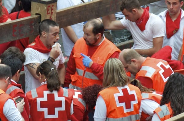guy with EMT after running with the bulls in pamplona