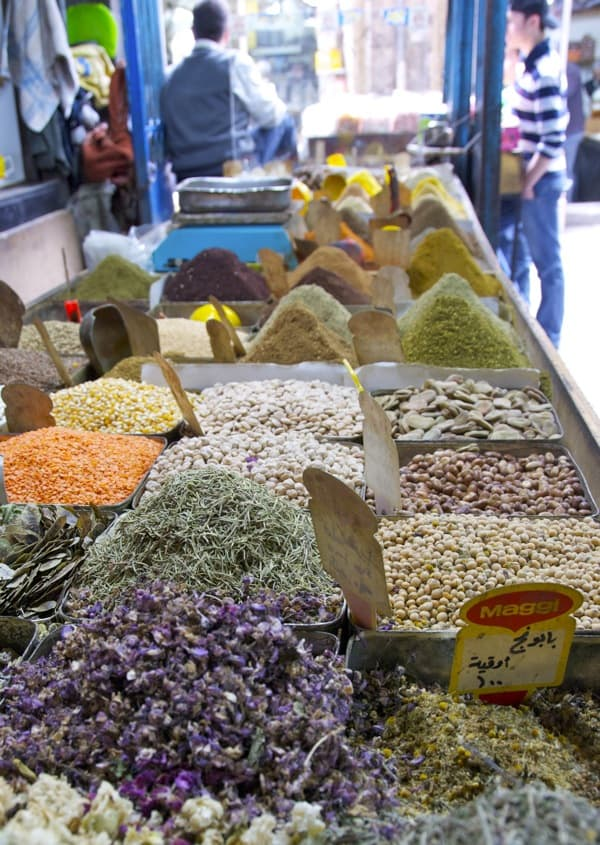 spices in damascus souk market syria