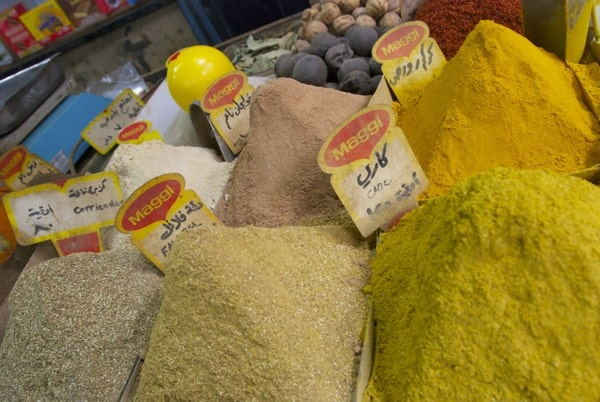 non-colorful spices in damascus souk market