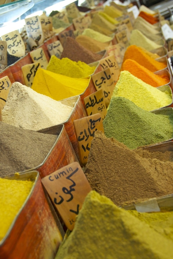 colorful spices in souk in damascus
