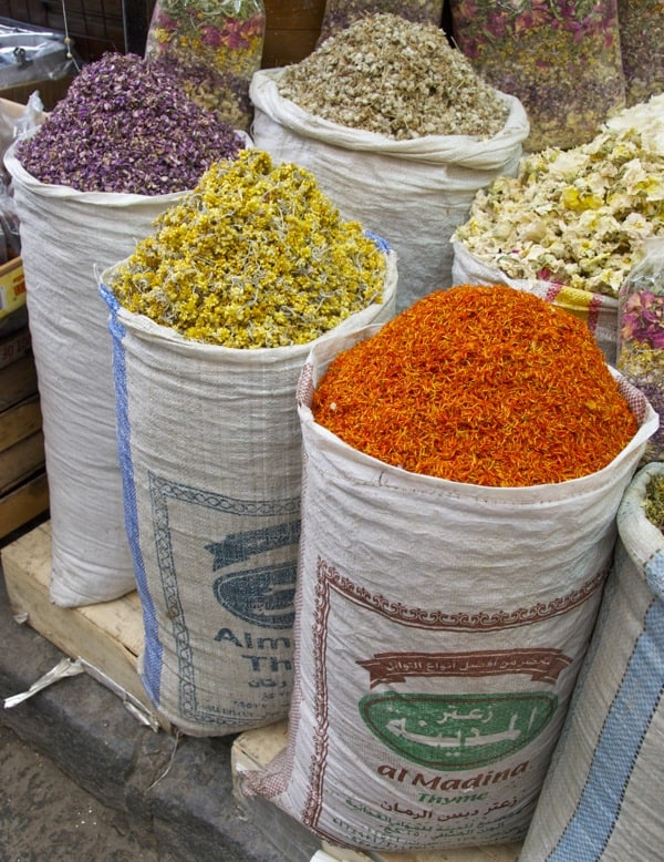stand up spice bags in damascus souk
