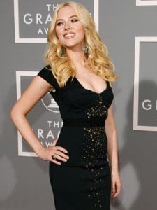Scarlett Johansson Sexy runway long black dress