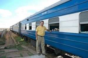 michael hodson boarding train in zambia africa