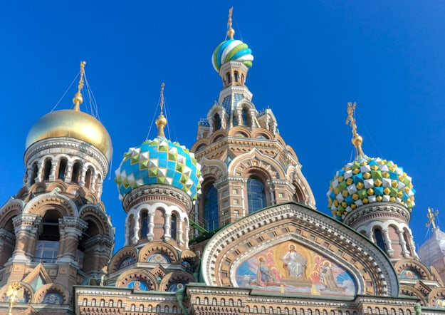 russian orthodox church with onion style domes