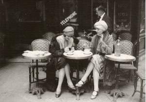 flappers smoking eating 1920s at outdoor cafe