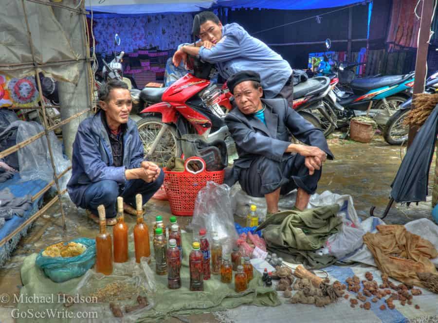 hmong men at market sapa vietnam