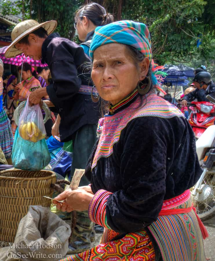 old hmong woman looking mad