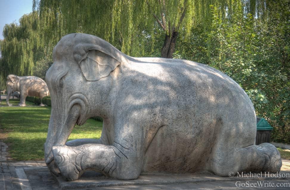 elephants seated statues sacred way mings tombs beijing china
