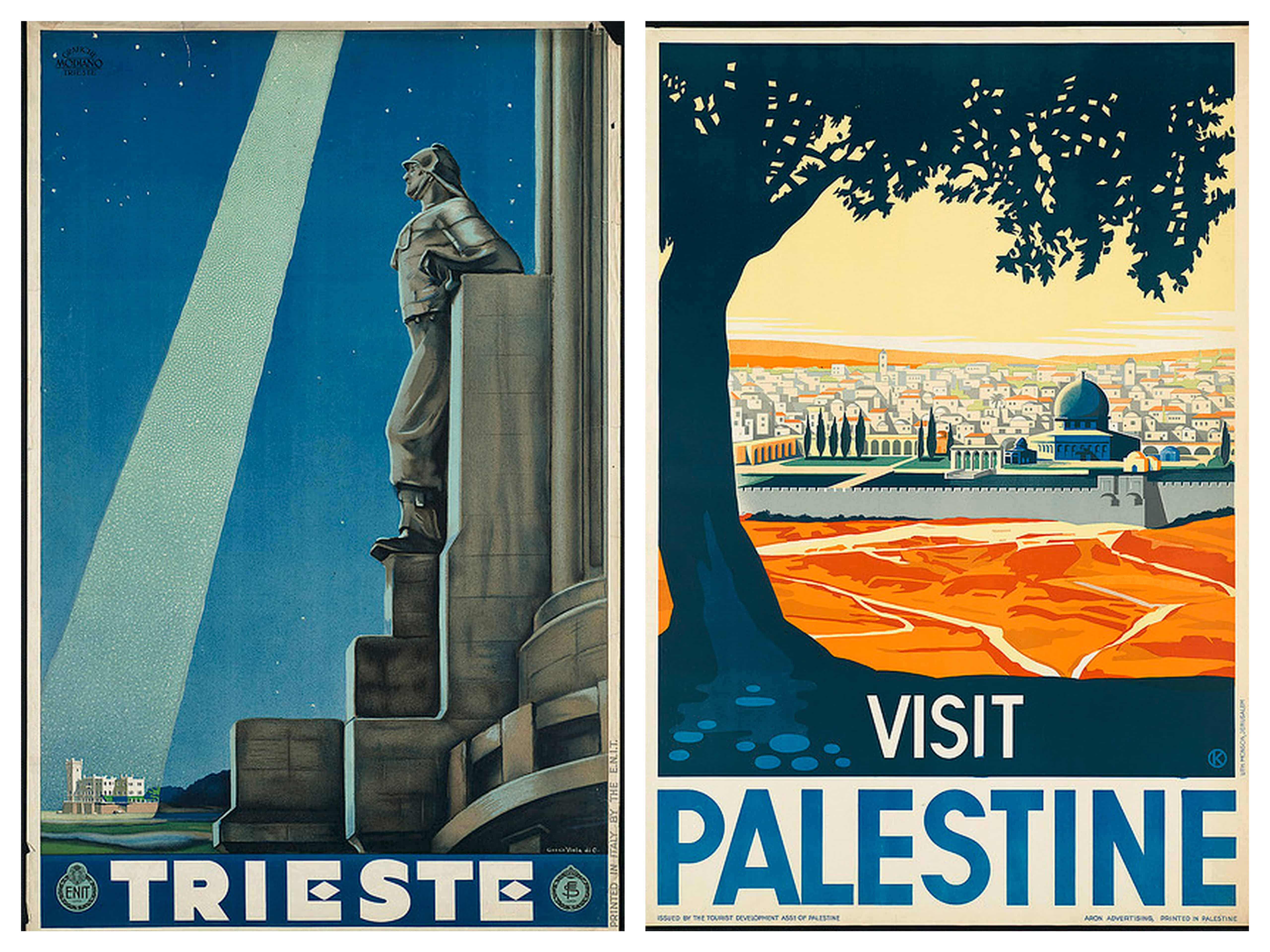 trieste and palestine vintage travel posters