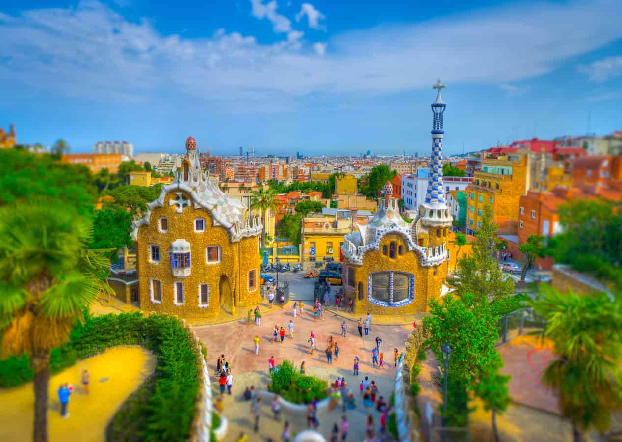 Gaudi buildings tilt shift from park guell barcelona