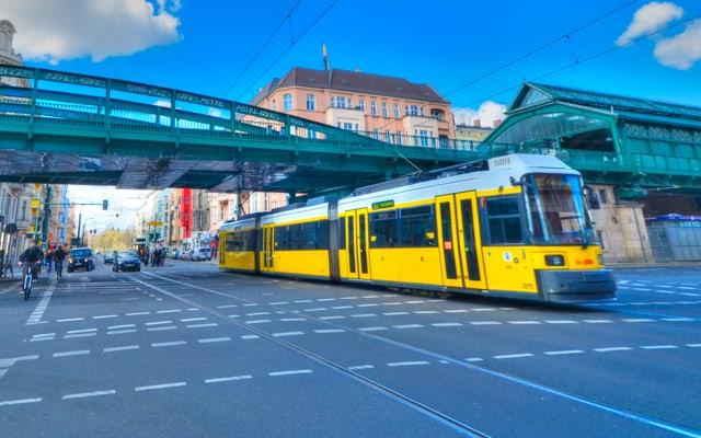 Berlin trams and trains near Prenzlauer Berg