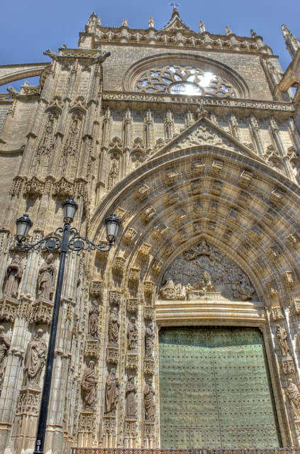 close up church door seville spain