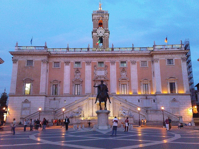Palazzo Senatorio at dusk sundown