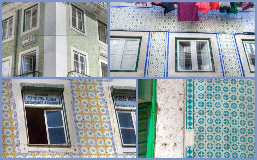 tiled walls in libson in mosaic form