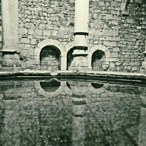 close view of roman baths in girona spain