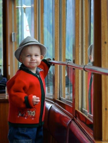 cute german kid on boat