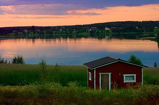finland sunset over cabin