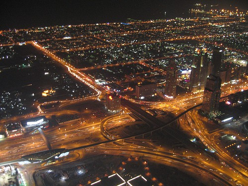 dubai at night from above