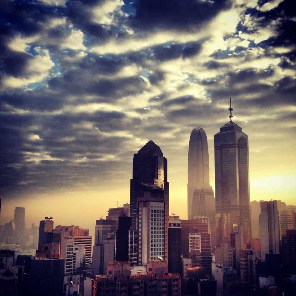 Sun rise over Central Hong Kong