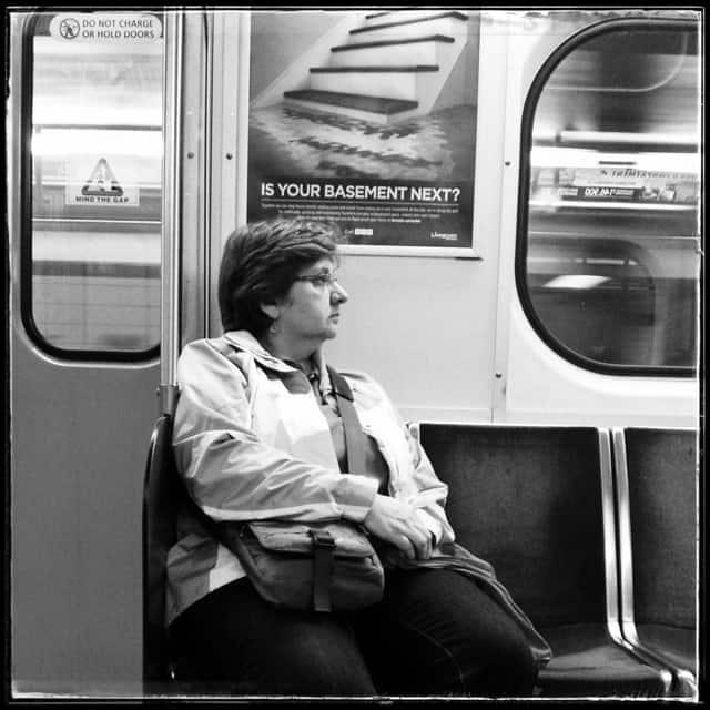 bw person on toronto subway