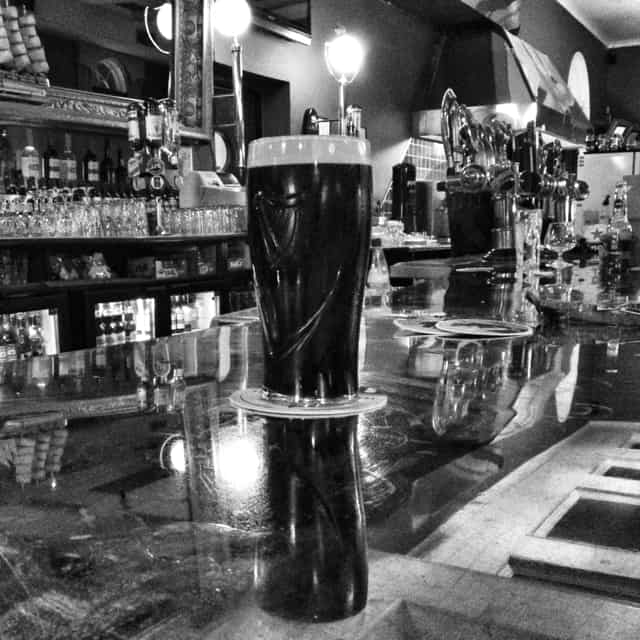 guinness beer in black and white