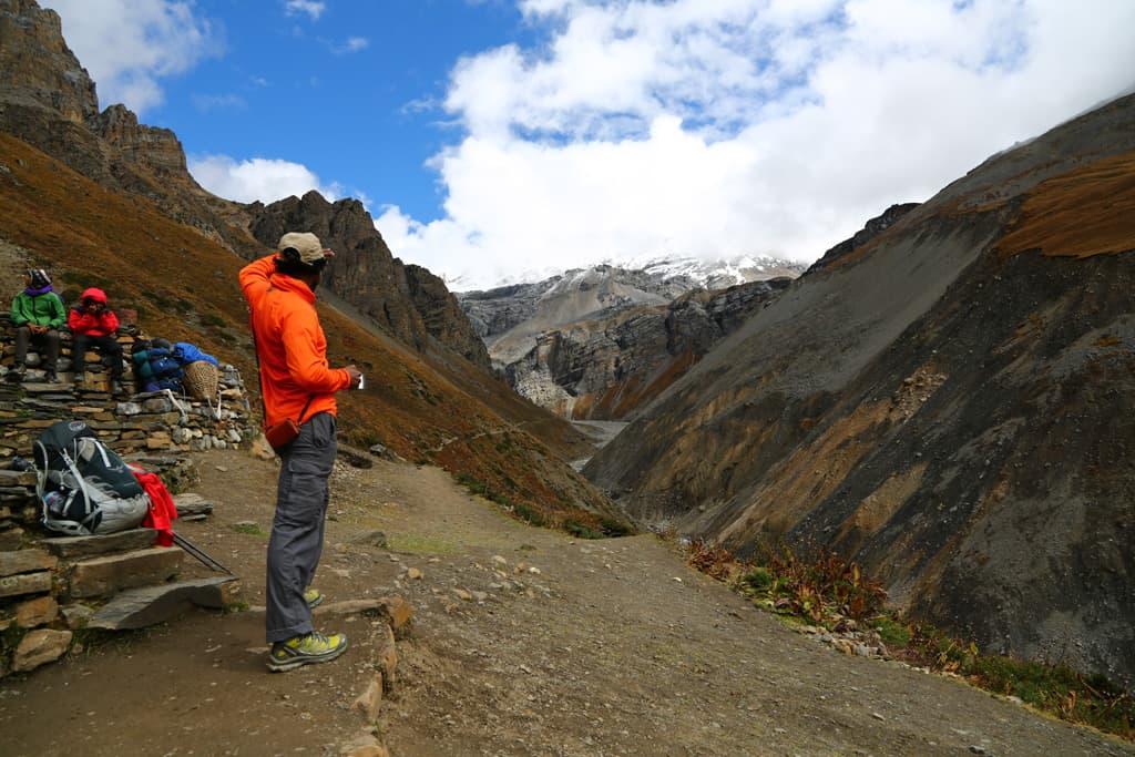 A Traveler looks toward Base Camp