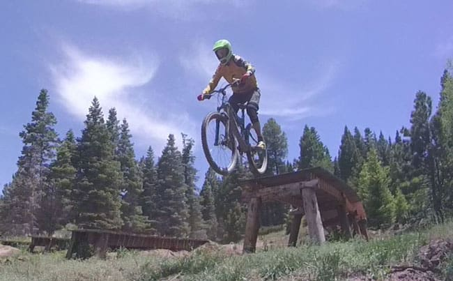 Conquering scary things at Angel Fire Bike Park