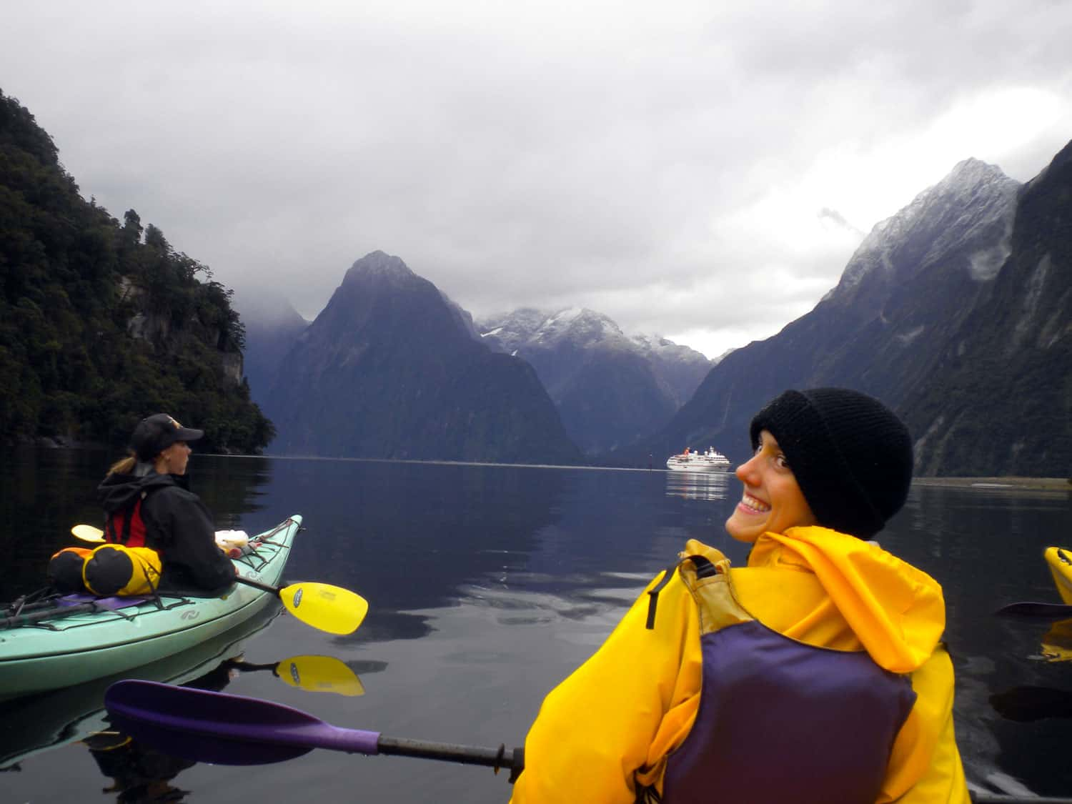 Kayaking in Milford Sound -- wet, cold and totally worth it!