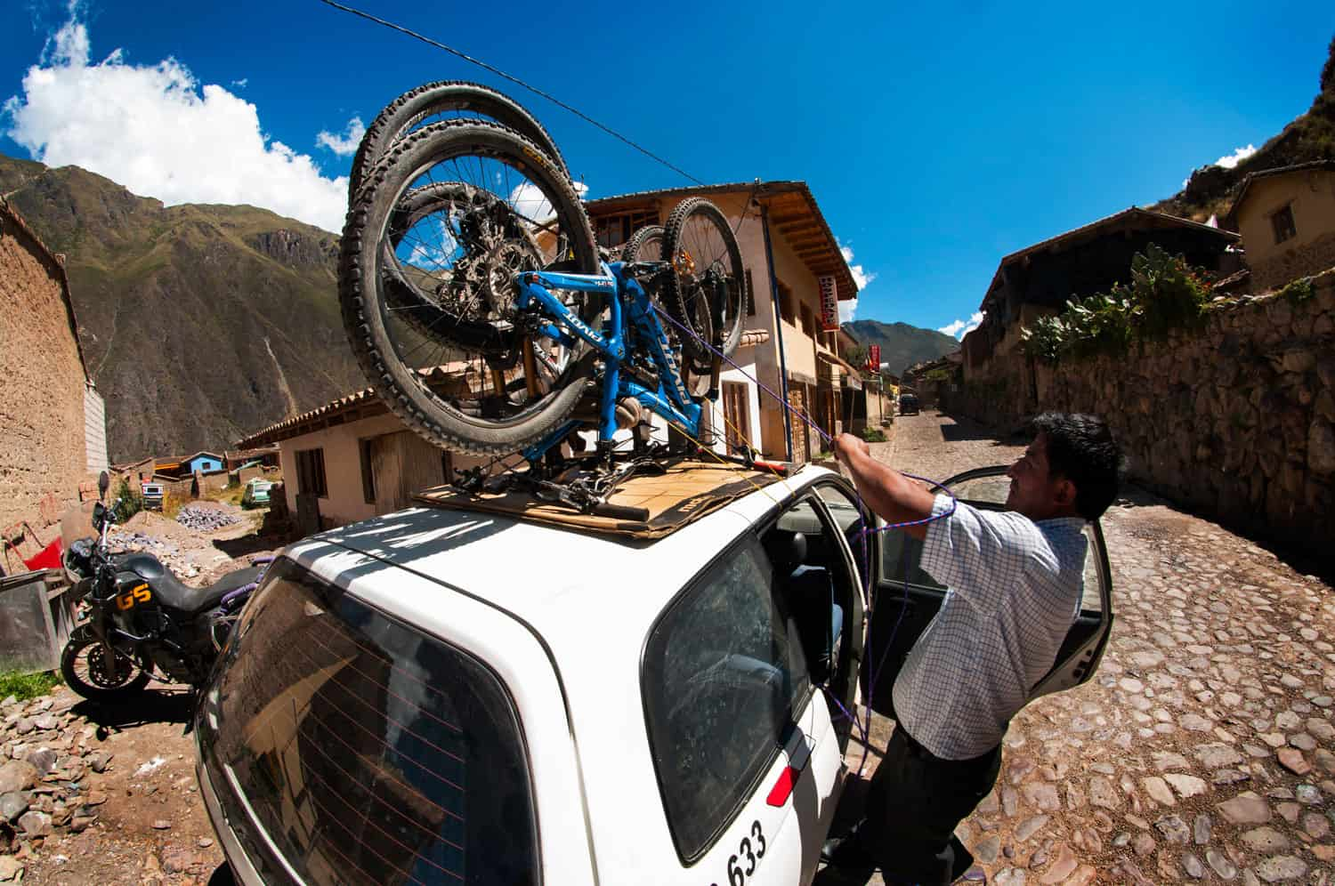 One particularly creative way of transporting bikes in Peru