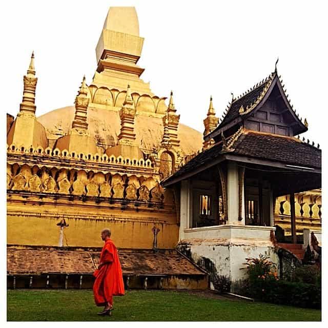 Vientiane Laos Temple Monk