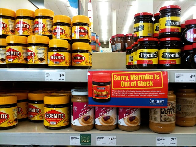Marmite on shelves in New Zealand